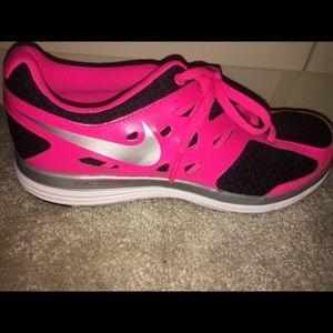 Size 5, Neon Pink & Black Nike Sneakers.